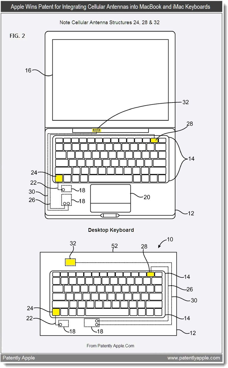 2 - Apple wins patent for integrating cellular antennas into MacBooks & iMac Keyboards, Aug 2011, Patently Apple