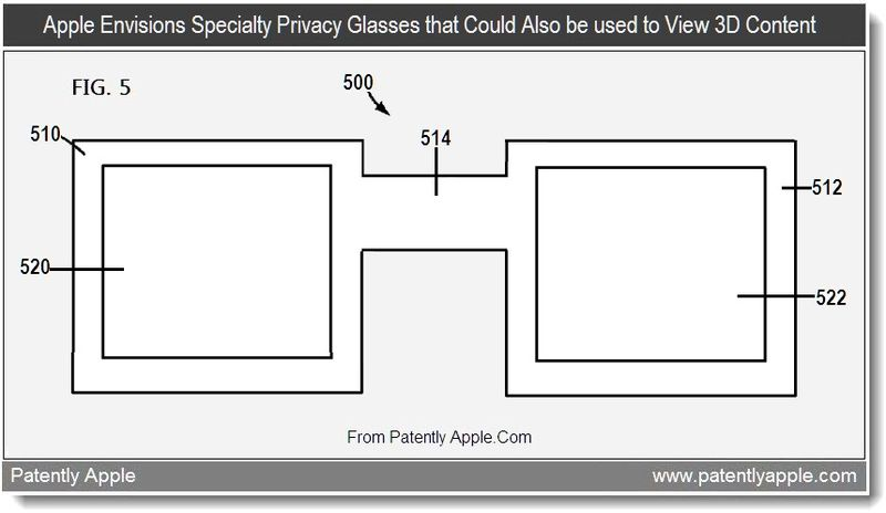 3 - Apple Envisions Specialty Privacy Glasses that Could Also be used to View 3D Content, Aug 2011, Patently Apple