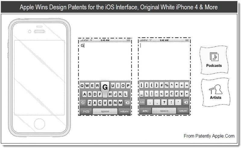 1 - Apple Wins Design Patents for the iOS Interface, Original White iPhone 4 & More Aug 2011, Patently Apple blog