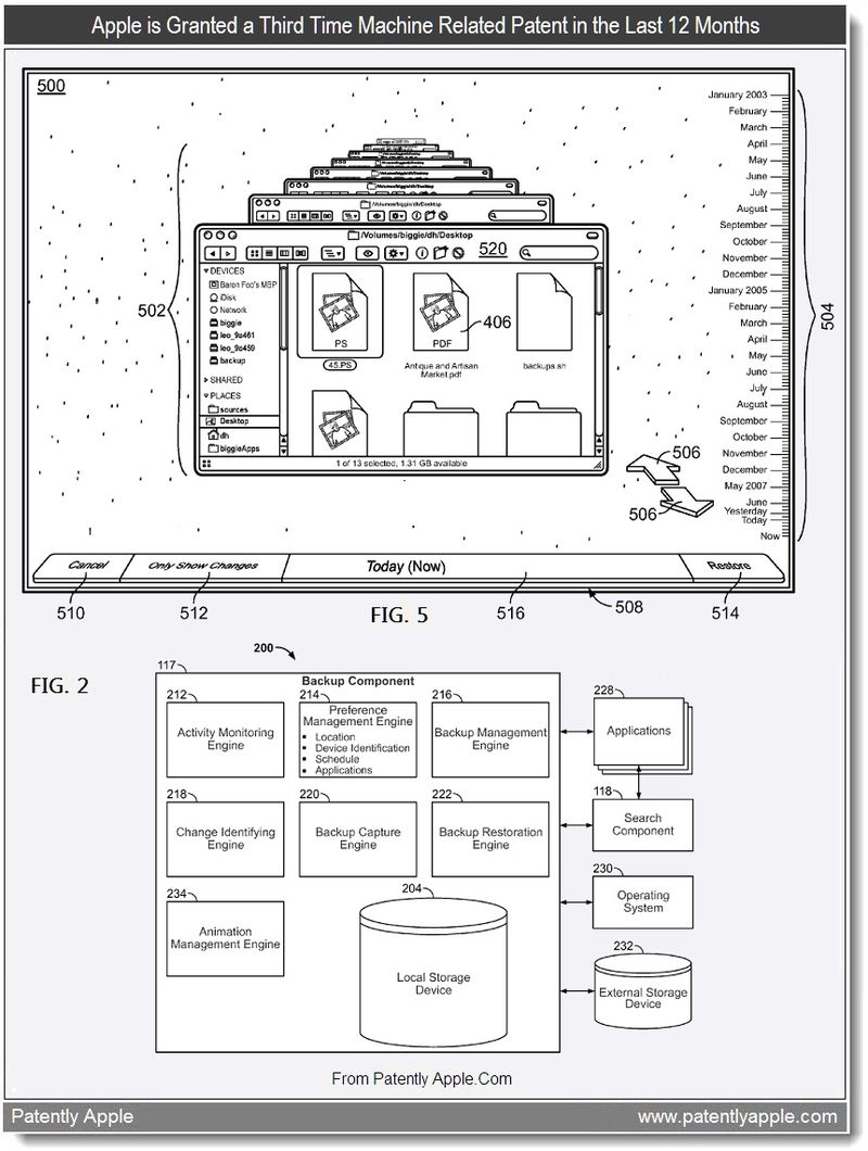 3 - Apple is Granted a Third Time Machine Related Patent in the Last 12 Months, Aug 2011, Patently Apple blog