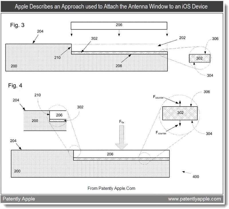 4 - Apple Describes an Approach used to Attach the Antenna Window to an iOS Device, Sept 2011, Patently Apple Blog