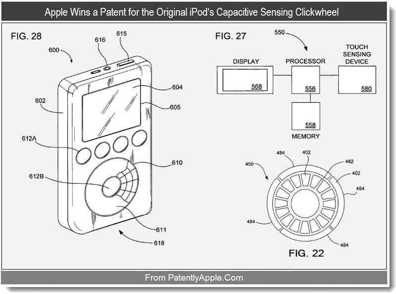 3 - Apple Wins a Patent for the Original iPod's Capacitive Sensing Clickwheel, sept 2011, Patently Apple Blog