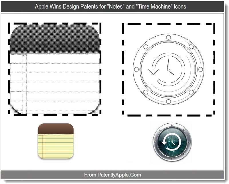 5 - Apple Wins Design Patents for Notes and Time Machine Icons, Sept 2011, Patently Apple