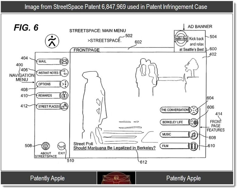 2 - Image from StreetSpace Patent 6,847,969 used in Patent Infringement Case, Sept 2011, Patently Apple Blog