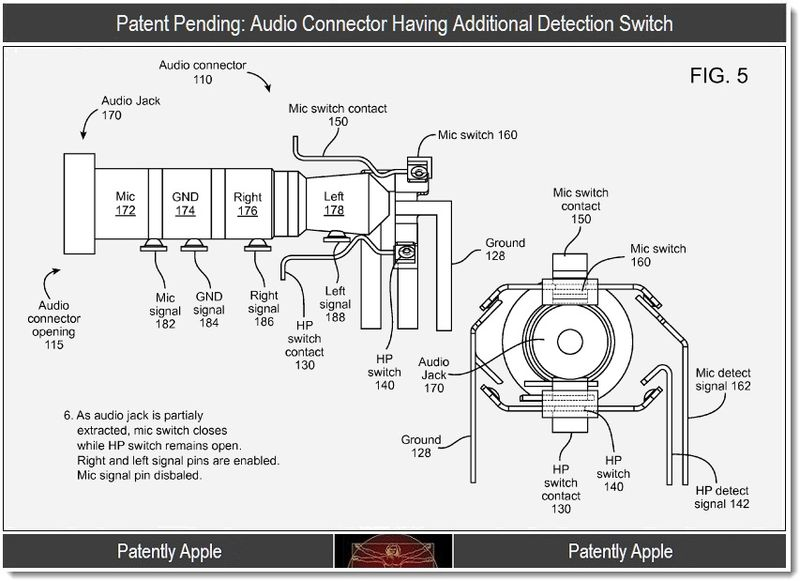 Extra - Patent Pending - audio connector having additional detection switch, sept 2011, Patently Apple Blog