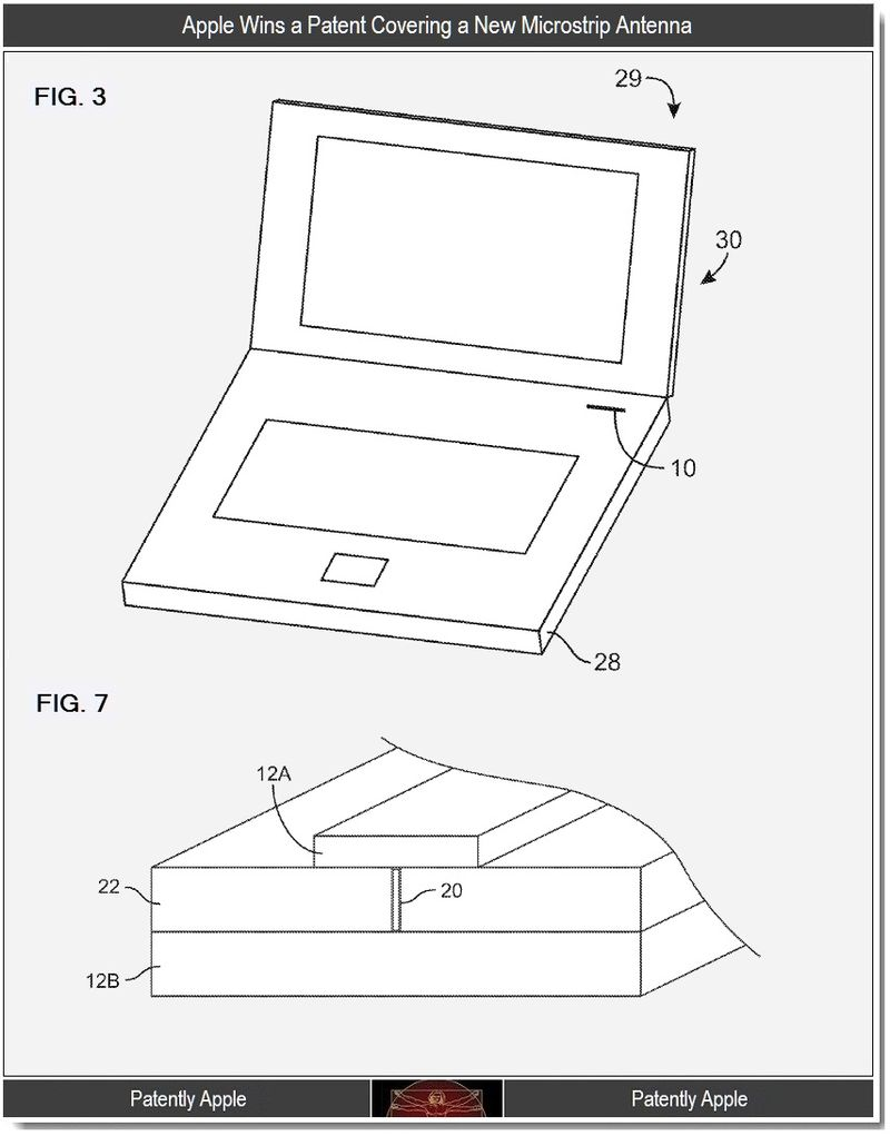 2 - Apple wins a patent covering a new microstrip antenna