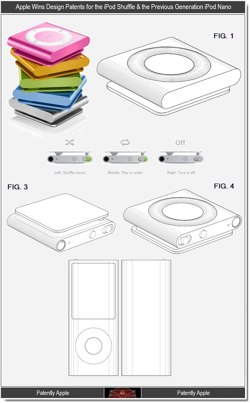 4 - Apple Wins Design Patents for the iPod Shuffle & the Previous Generation iPod Nano