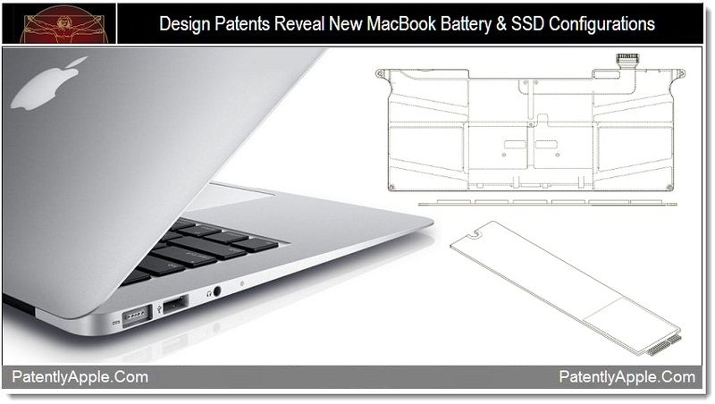 1 - Design Patents Reveal New MacBook Battery & SSD Configurations
