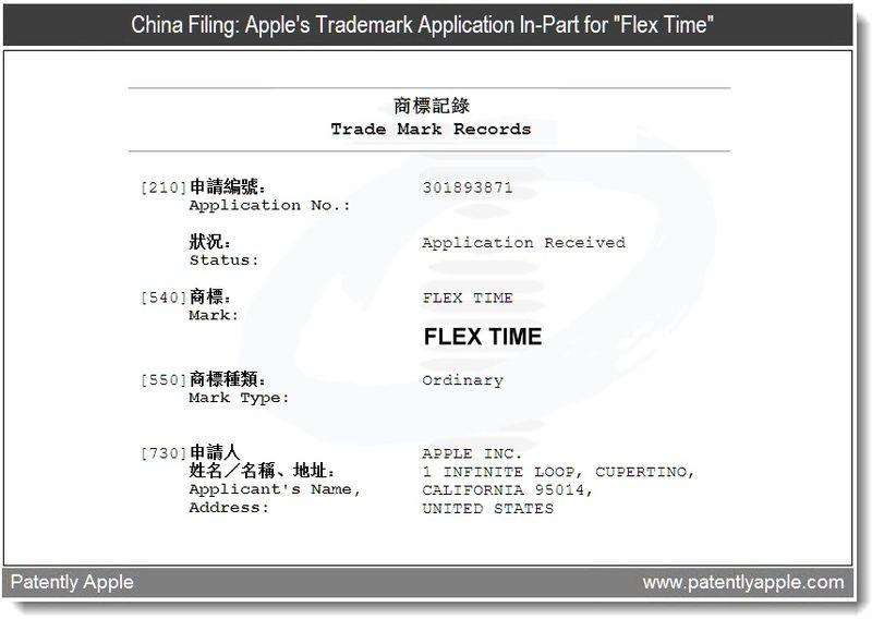 China Filing  -  Apple TM Flex Time - April 2011