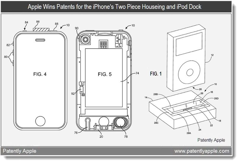 6 - Apple Wins Patents for the iPhone's two piece housing + iPod Dock - April 2011