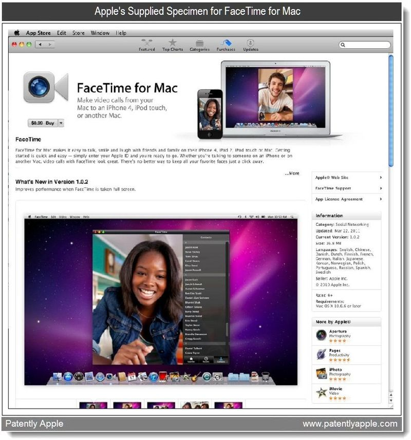 4 - Apple's Supplied Specimen for FaceTime for Mac  -  April 2011