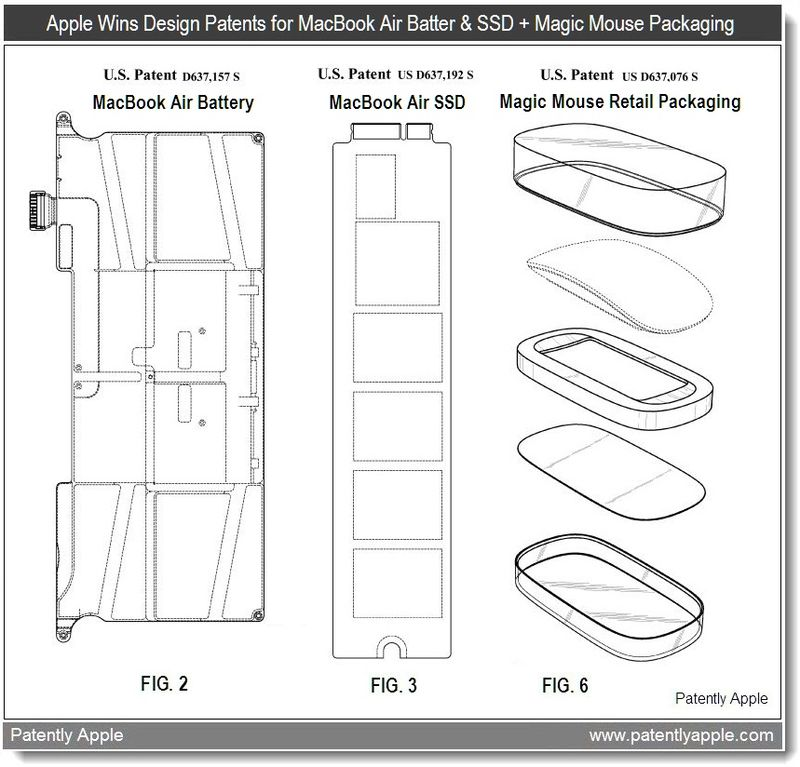 6 - Apple Wins design patents for macbook air battery & SSD + Magic mouse Retail packaging - May 2011