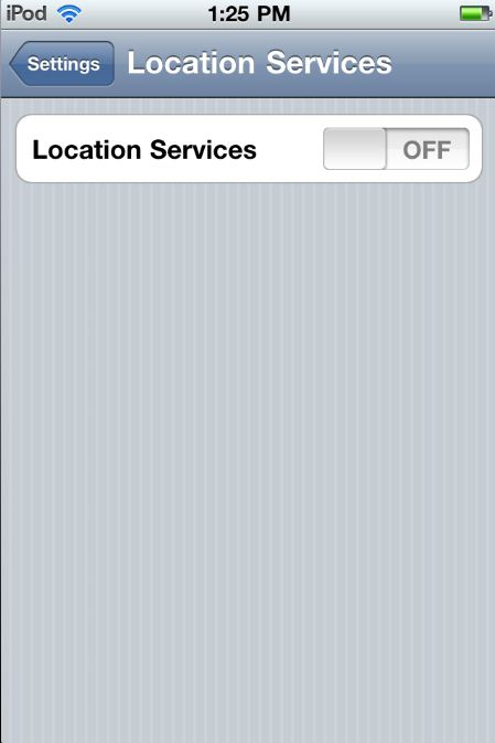 Location Services - On or OFF - the only choices - Apple iPod Touch Setting Screen