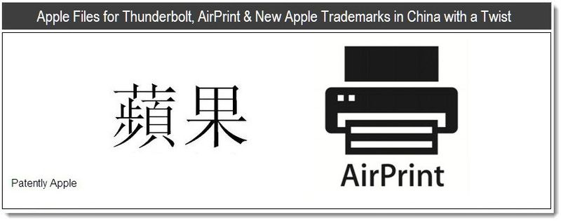 1 - Apple Files for Thunderbolt, AirPrint & New Apple Trademarks in China with a Twist - May 2011