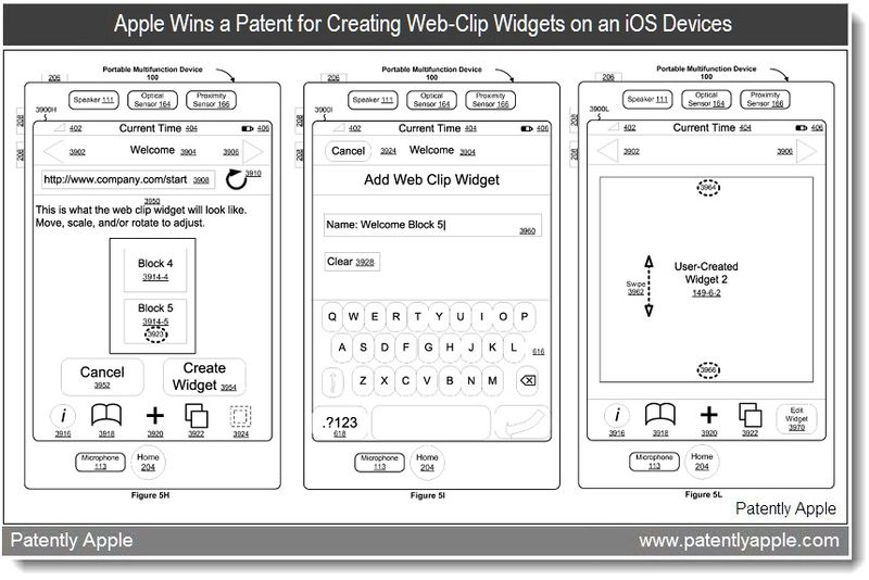 5 - Apple Wins a Patent for Creating Web-Clip Widgets on an iOS Device - May 2011