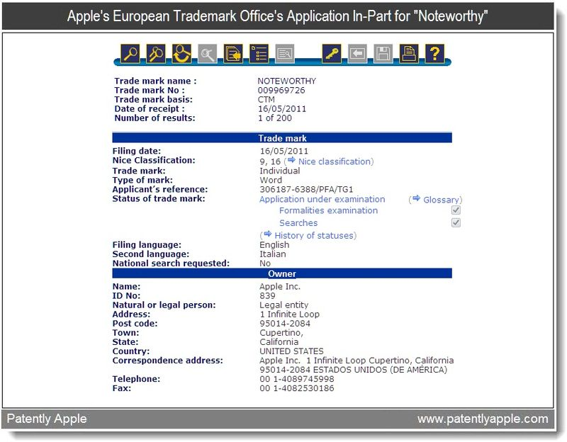 2 - Apple's Euro TM Application In-Part for Noteworthy - May 2011