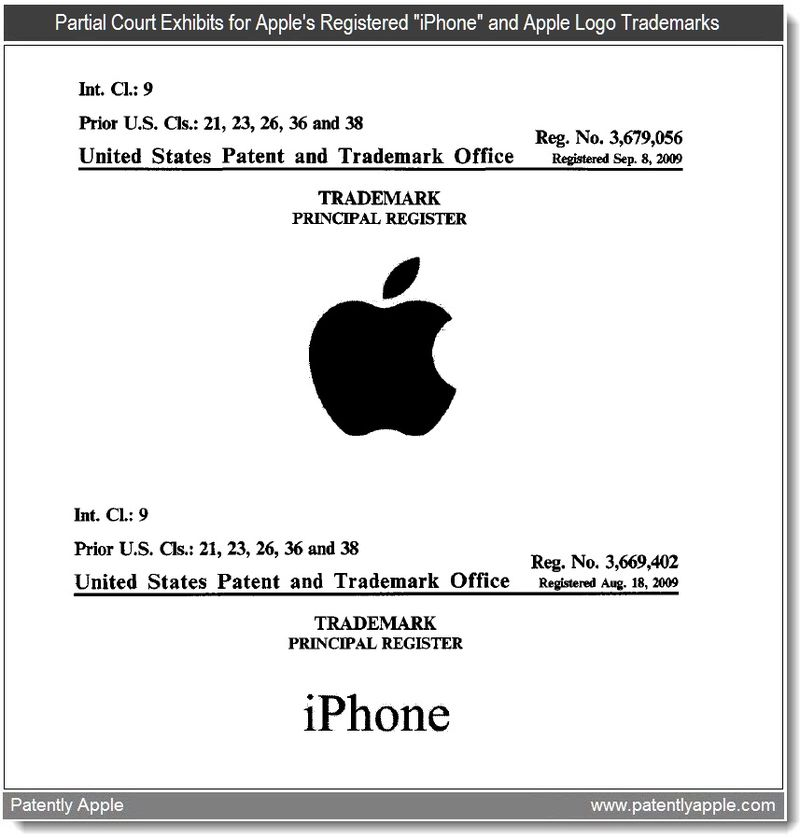 2 - Partial court exhibits of iPhone and apple logo trademarks - may 2011
