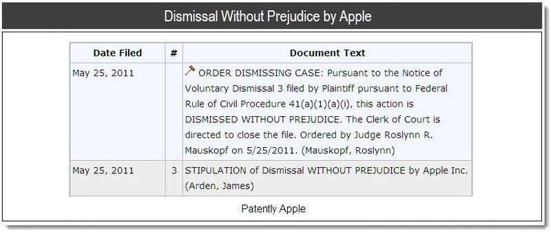 Dismissal Without Prejudice by Apple - May 2011