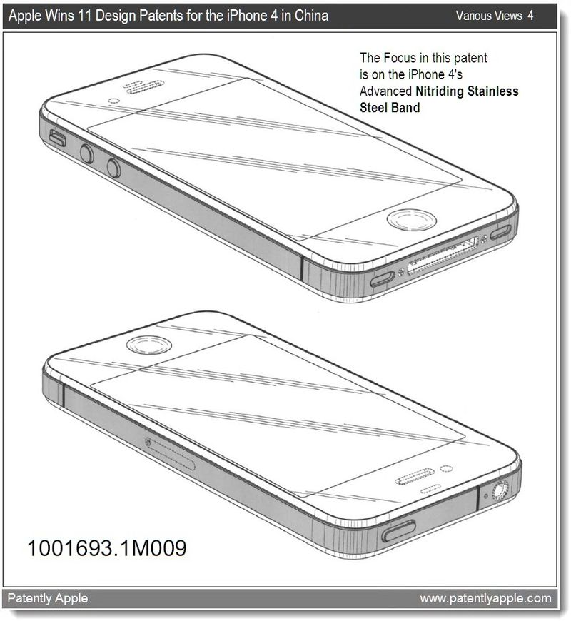 6 - China grants apple 11 design wins. This illustration focuses on the iPhone's nitriding stainless steel band - mar 2011