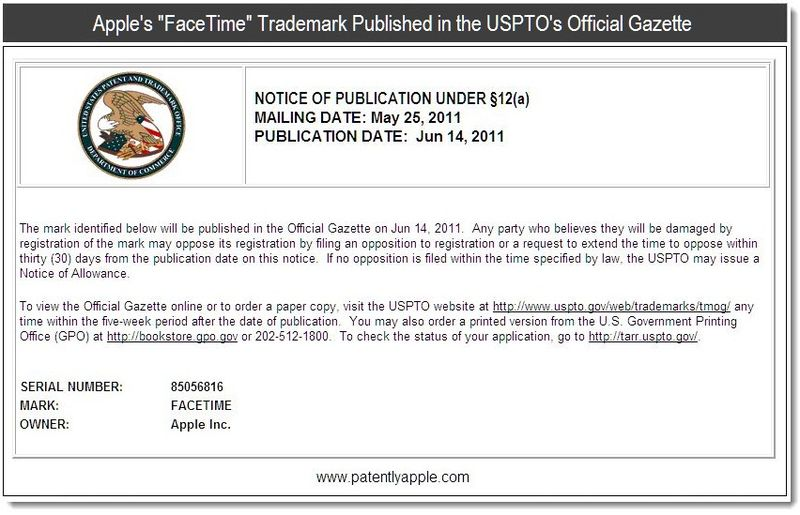 3 - Apple's FaceTime Trademark Published in the USPTO's Official Gazette - June 2011, Patently Apple