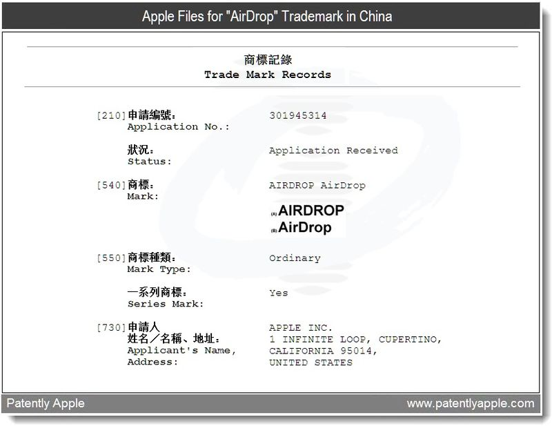 4 - Apple Files for AirDrop TM in China - June 2011, Patently Apple