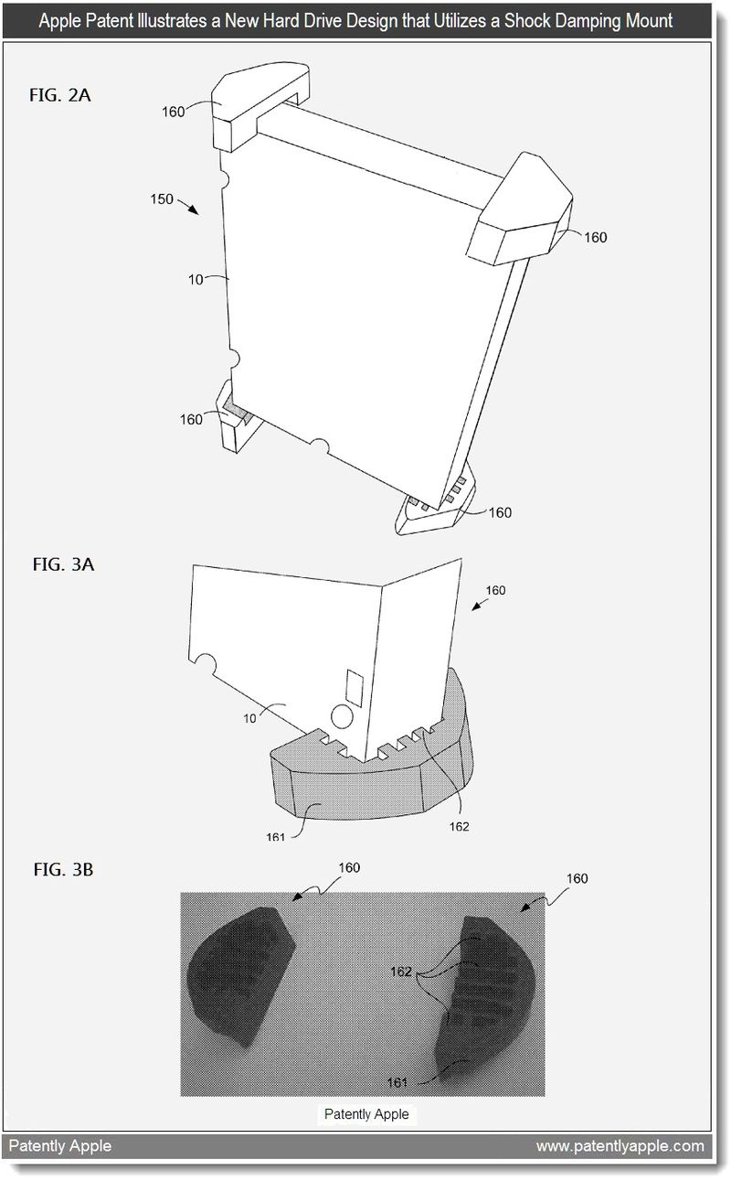 3 - Apple patent illustrates a new hard drive design that utilizes a shock dampeing Mount