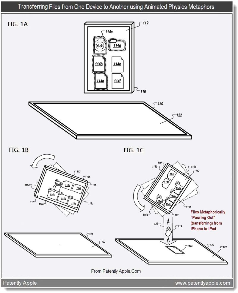 2 AA - Transferring Files from One Device to Another using Animated Physics Metaphors - Apple Patent 2011, Patently Apple