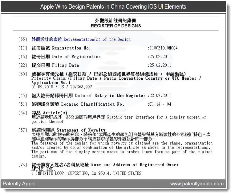 2 - Apple Wins Design Patents in China Covering iOS UI Elements, July 2011, Patently Apple
