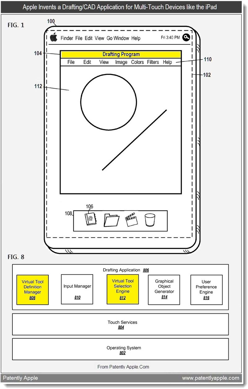 2b - Apple Invents a Drafting-CAD Application for Multi-Touch Devices like the iPad, July 2011, Patently Apple