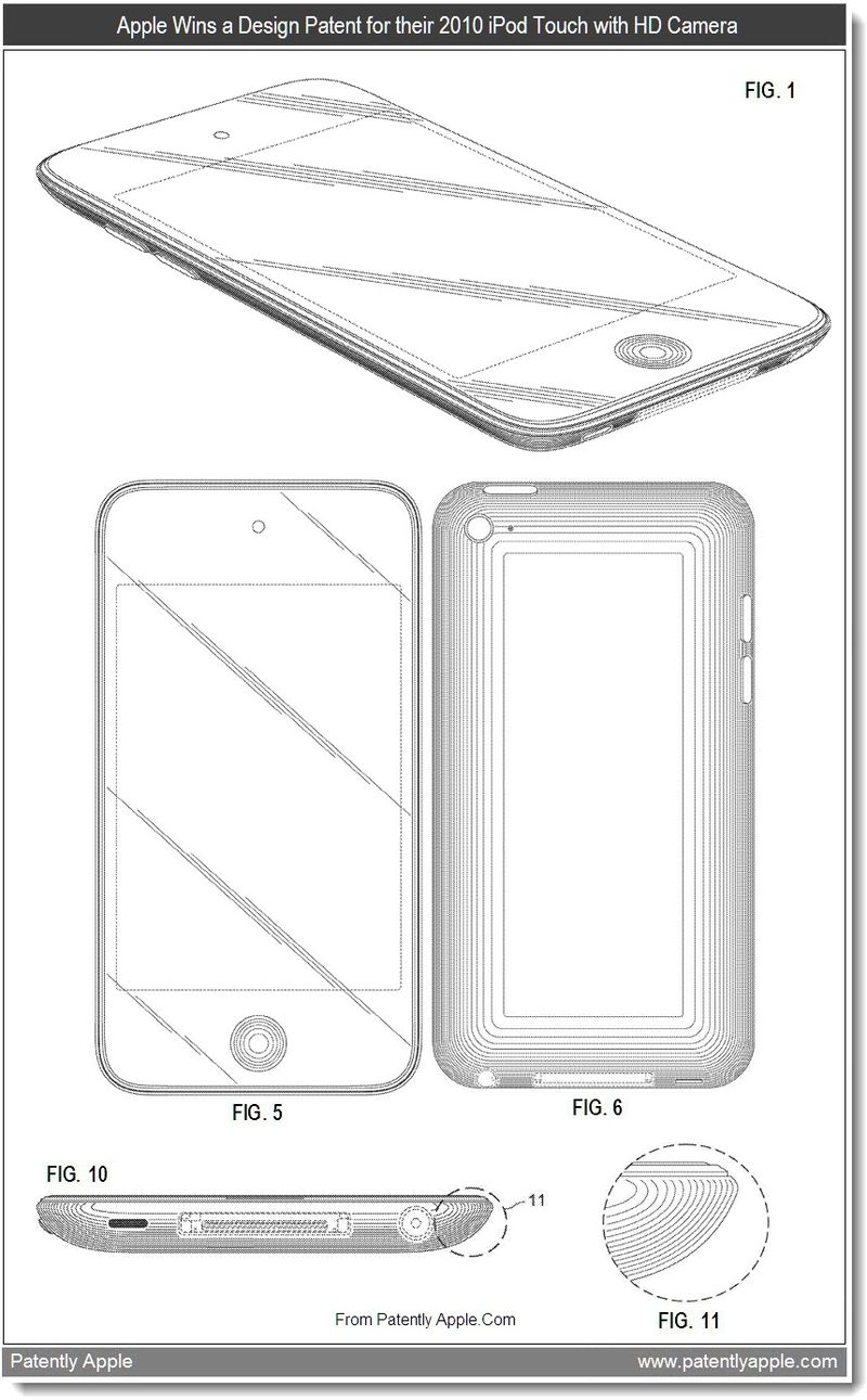 2 - Apple wins a design patent for their 2010 iPod Touch with HD Camera, Aug 2011 - Patently Apple