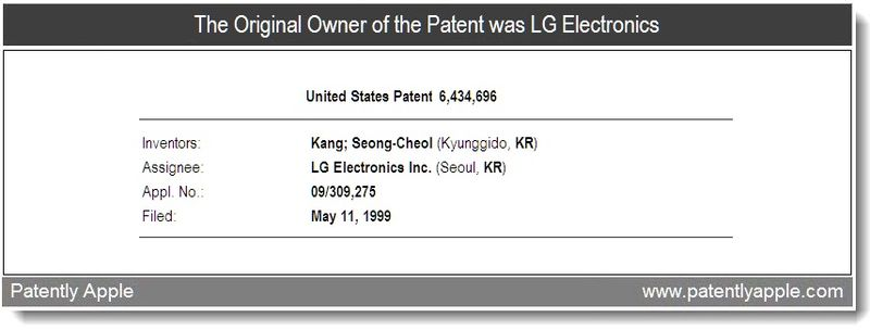 3 - The original owner of the patent was LG Electronics, Aug 2011, Patently Apple