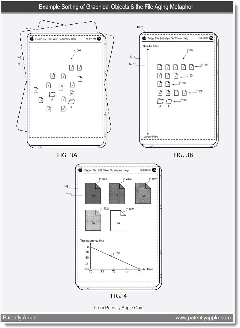 6 - Example Sorting of Graphical Objects & the File Aging Metaphor, Apple patent Aug 2011, Patently Apple