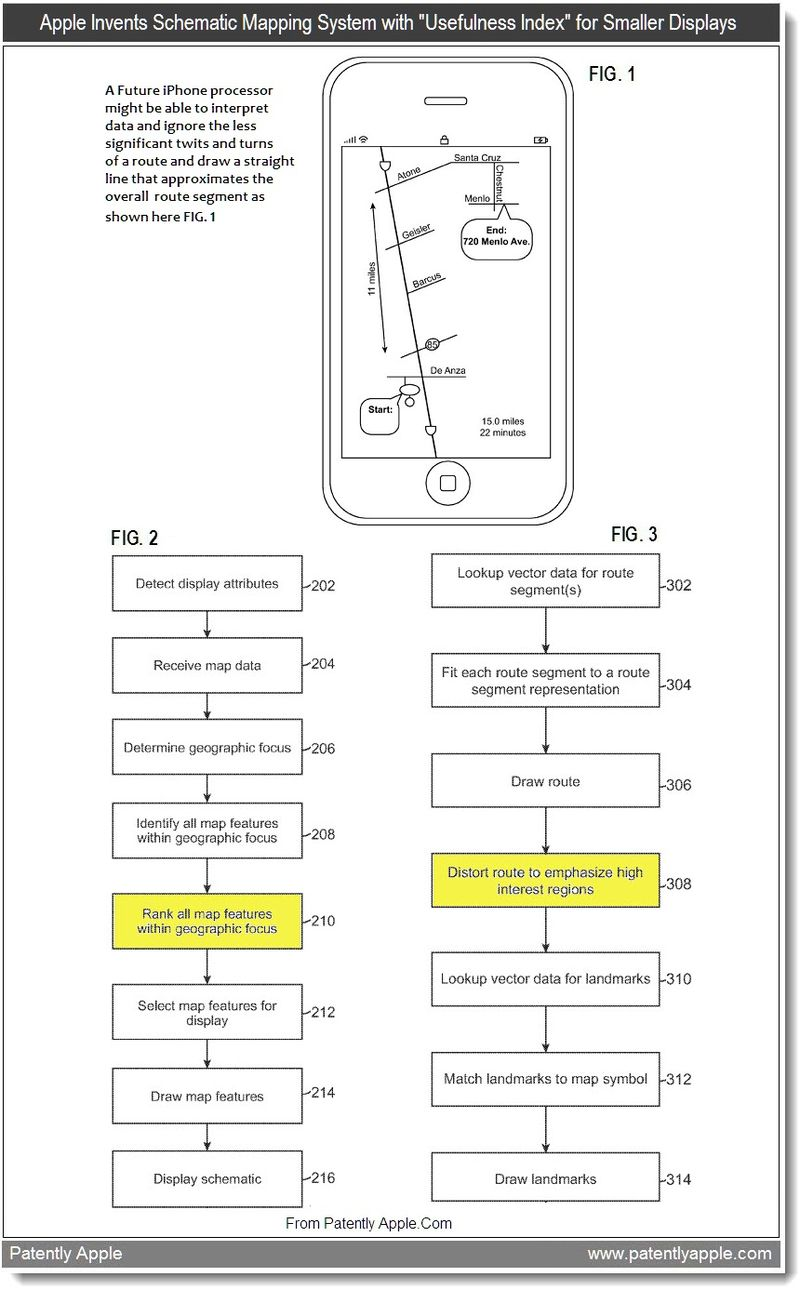 3 - Apple Invents Schematic Mapping System with Usefulness Index for Smaller Displays, Aug 2011, Patently Apple