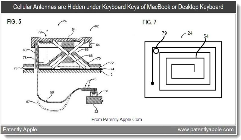 3 - Cellular Anetnnas are Hidden under the keyboard keys of MacBooks or Desktop Keyboard, Apple patent, aug 2011 Patently Apple