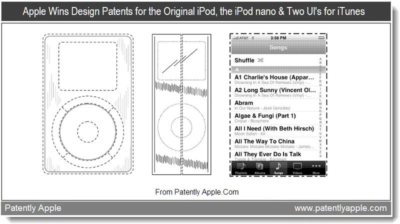 4 - Apple wins design wins for the original iPod, the iPod nano & Two UI's for iTunes, Aug 2011, Patently Apple