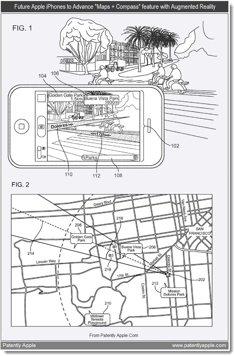 2 - Future Apple iPhones to Advance Maps + Compass feature with Augmented Reality, Aug 2011, Patently Apple