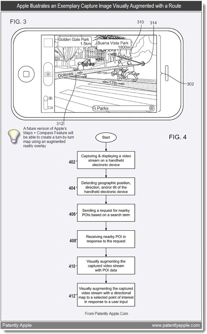 3AA - Apple Illustrates an Exemplary Capture Image Visually Augmented with a Route, Aug 2011, Patently Apple
