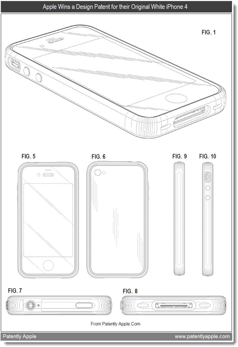 2 - Apple Wins a Design Patent for their Original White iPhone 4, Aug 2011, Patently Apple Blog