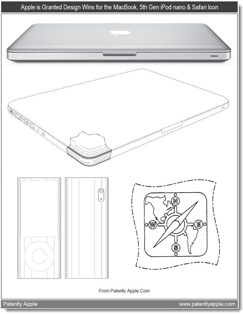 2 - Apple Granted Design Wins for MacBook, 5th Gen iPod nano, Safari Icon, 09-2011, Patently Apple Blog