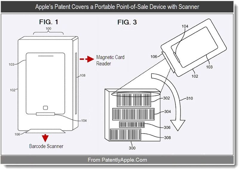 2 - Apple's patent covers a portable point of sale device with scanner, Sept 2011, Patently Apple Blog