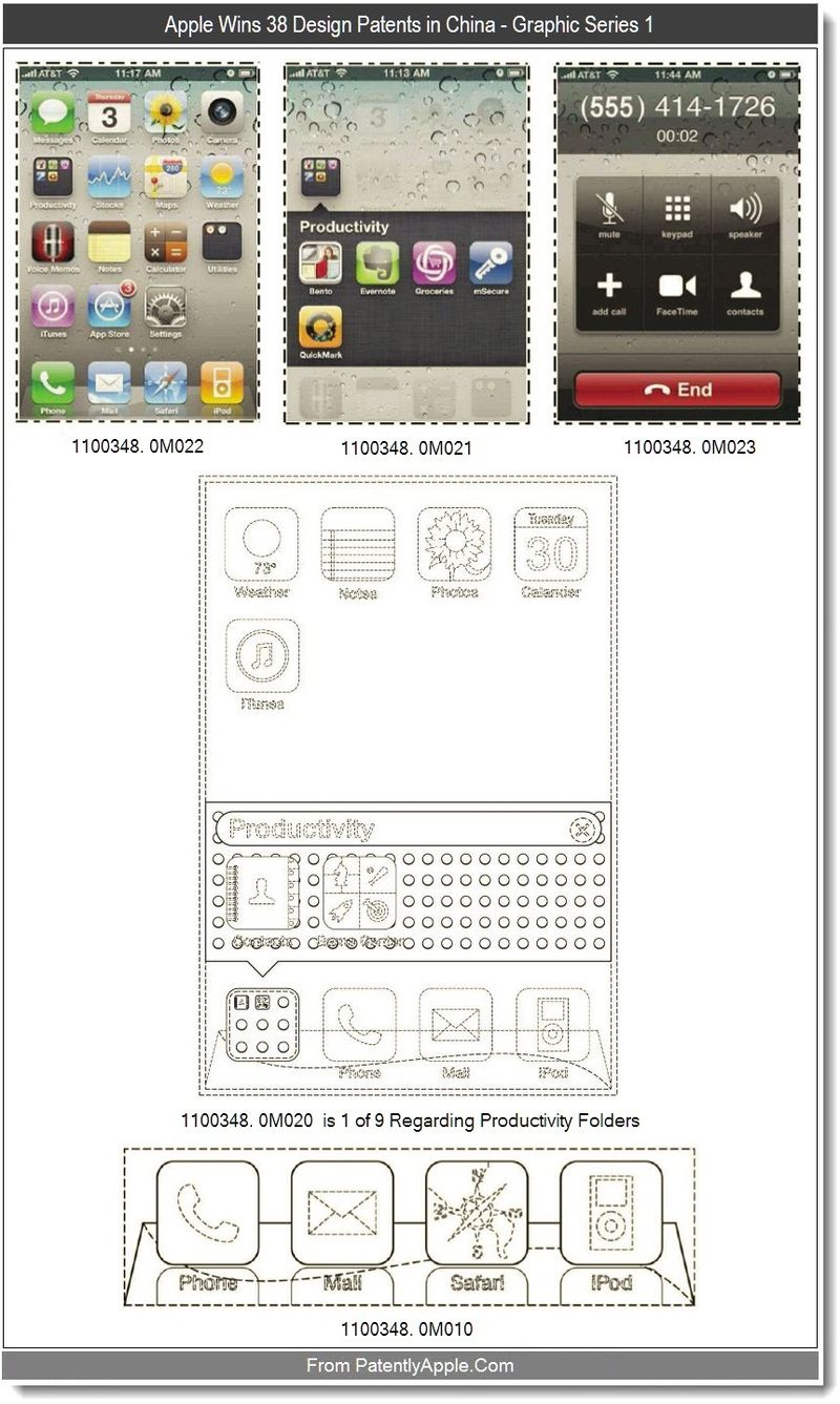 2 - Apple Wins 38 Design Patents in China, Graphic Series 1, Sept 2011, Patently Apple blog