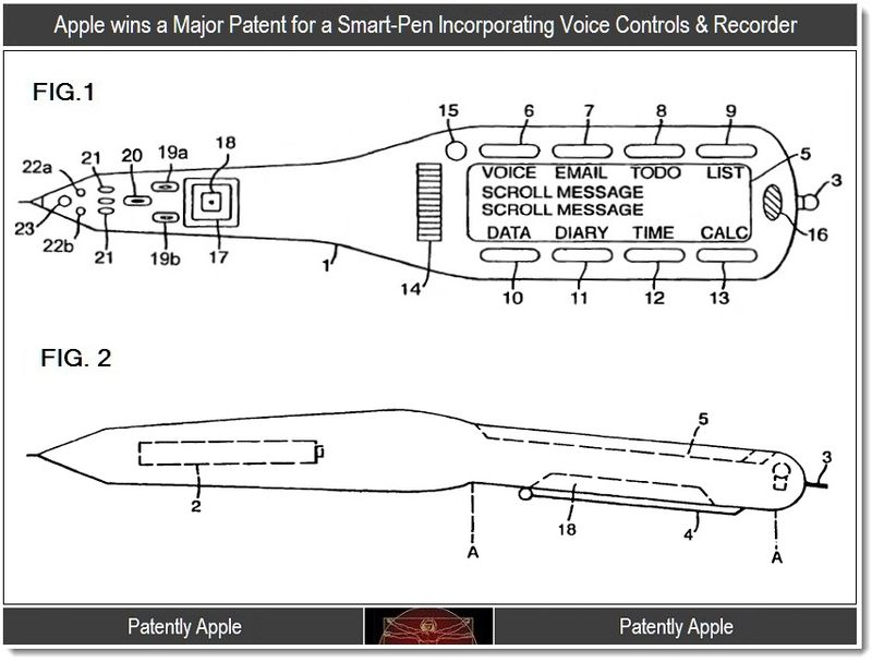 2 - Apple wins a major patent for a smart pen incorporating voice controls & Recorder, Sept 2011, Patently Apple