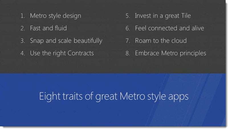 2 - Eight Traits of great Metro Style Apps Outline, Build Event, Patently Apple