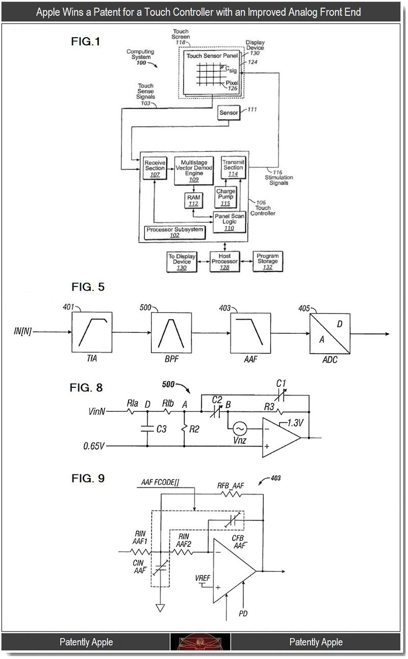 2 - Apple Wins a Patent for a Touch Controller with an Improved Analog Front End, Patently Apple Blog