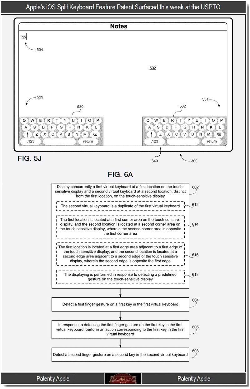 Extra - Apple's iOS split keyboard feature patent surfaces