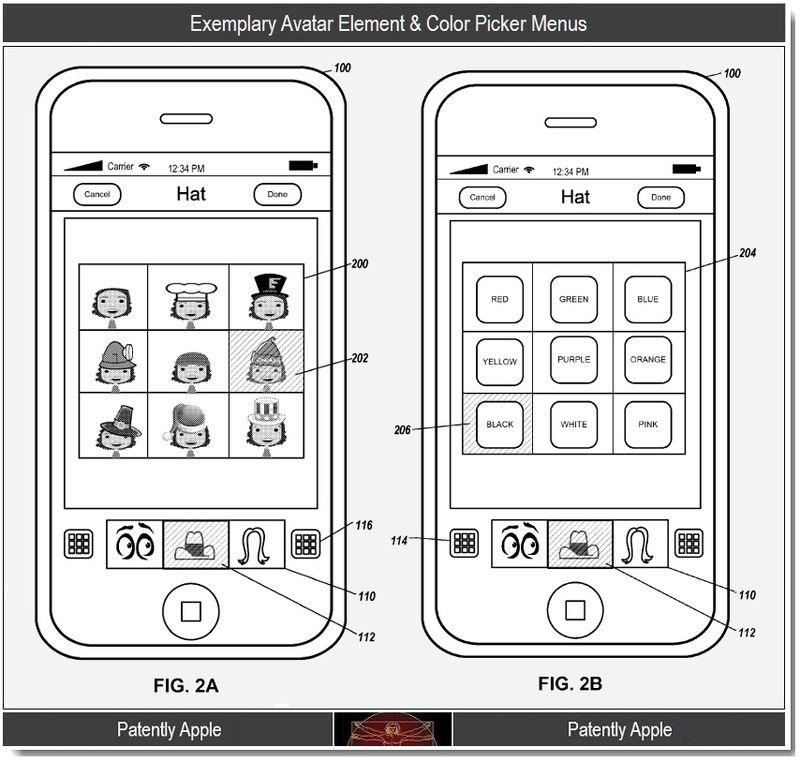 3 - Exemplary avatar element & color picker menus, Apple, 2011
