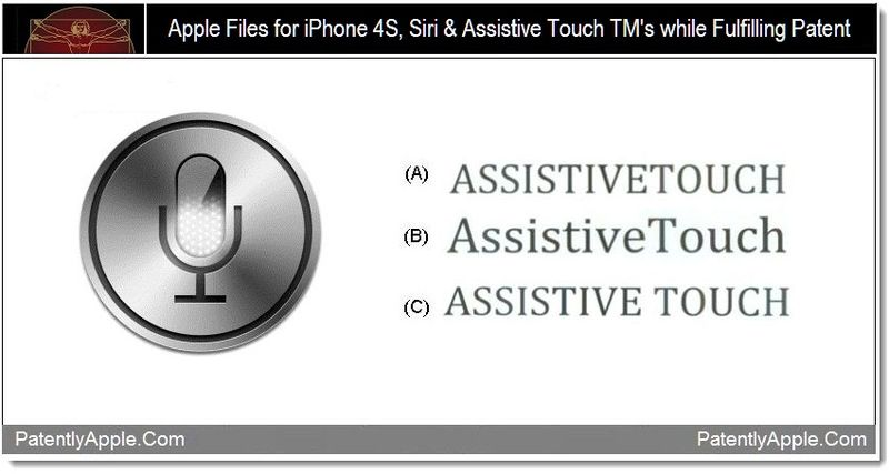 1 - Apple Files for iPhone 4S, Siri & Assistive Touch TMs while Fulfilling Patent
