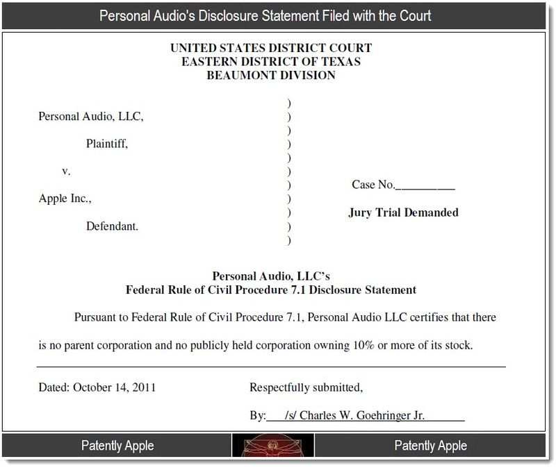 5 - Personal Audio's Disclosure filed with the Court