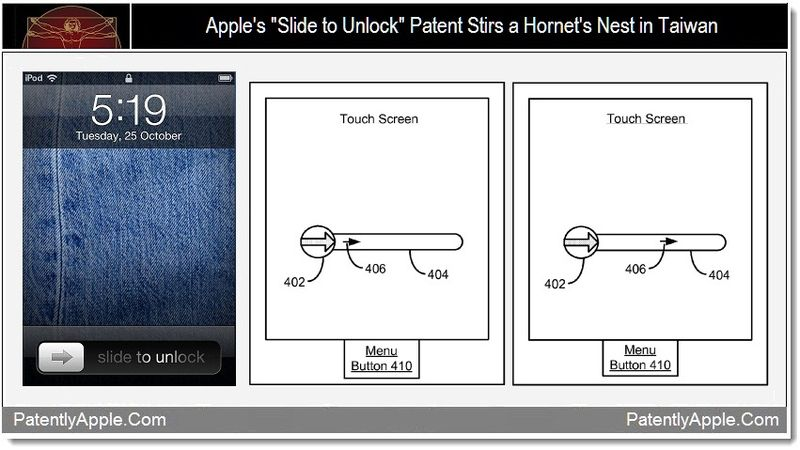 1 - Apple's Slide to Unlock Patent Stirs a Hornet's Nest in Taiwan