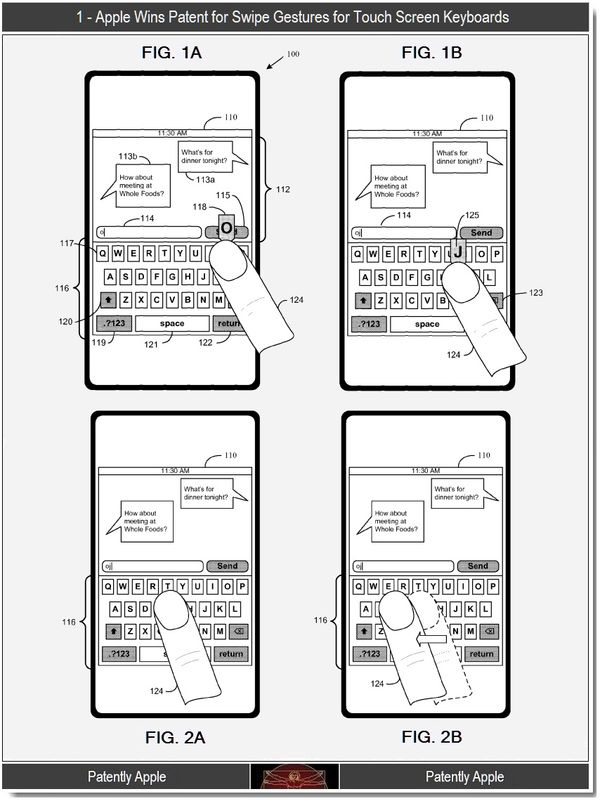 apple wins key swipe gestures patent for virtual keyboards